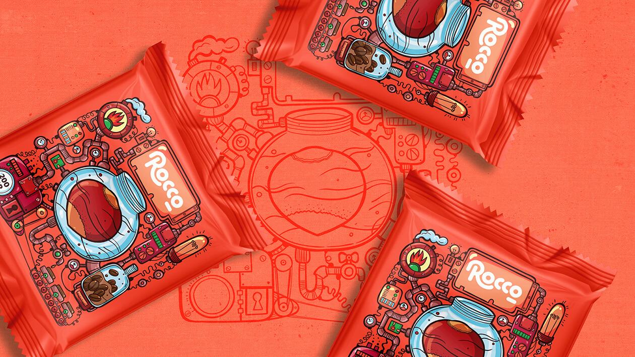 طراحی بسته بندی شکلات فندقی