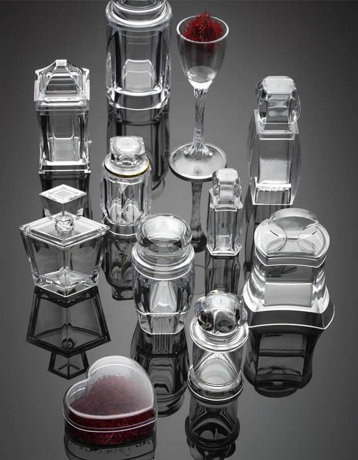 ظروف پلی کریستال در اسکال متنوع مناسب بسته بندی زعفران